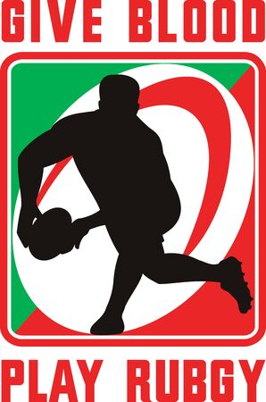 illustration of a Rugby player passing ball facing front in silhouette with ball in background with words give blood play rugby illustration