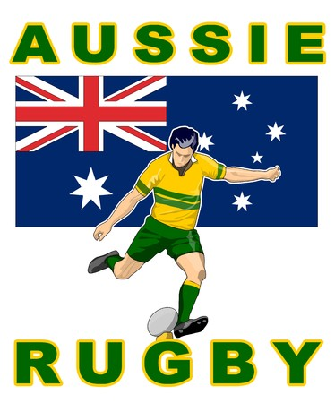 illustration of Rugby player kicking ball front view with Australia flag in background  with words  illustration