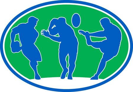 illustration of silhouette of rugby player running passing fending and kicking the ball set inside an oval or ellipse illustration