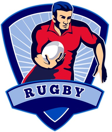 illustration of a Rugby player running with ball facing front with shield in background and words  illustration