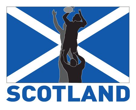 scot: illustration of Rugby player catching lineout throw ball with scotland flag in background