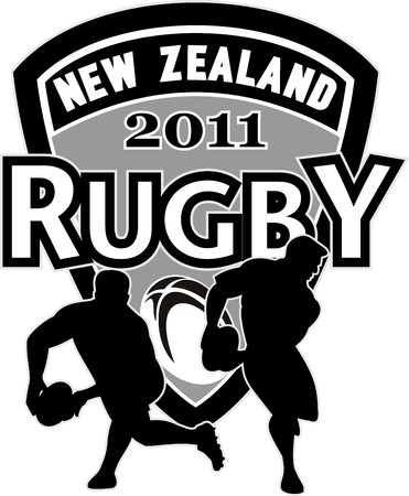 illustration of Rugby player catching lineout throw with ball in background and words  illustration