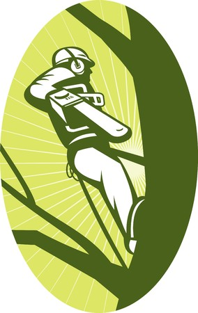 tree trimming:  illustration of a tree surgeon or arborist chainsaw cutting tree done in retro style Stock Photo