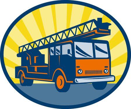coche de bomberos: Ilustraci�n de un estilo de retor de cami�n o motor de Fire