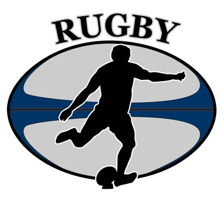 kicking ball: illustration of a rugby player kicking ball with ball in background and words rugby