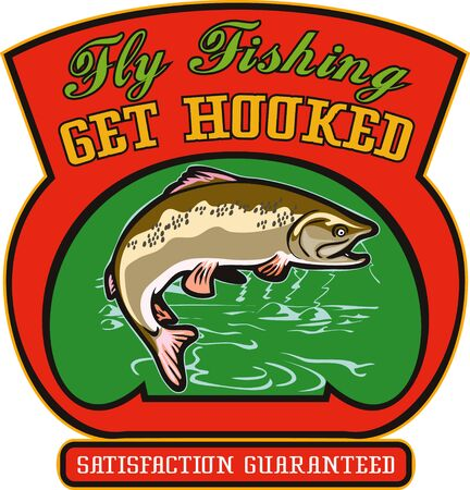 trout fishing: illustration of a trout fish jumping with lake river in background and shield wordings fly fishing get hooked satisfaction guaranteed