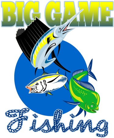 atun rojo: Ilustraci�n de estilo retro de un pez vela, pez de delf�n dorado o Mahi y at�n de aleta amarilla con palabras gran juego de la pesca