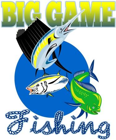 big game: stile retr� illustrazione di un Sailfish, pesce Delfino dorado o mahi-mahi e tonno pinna gialla con parole big game fishing  Archivio Fotografico