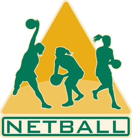passing: illustration of a netball player catching jumping passing ball with shield or triangle in the background Stock Photo