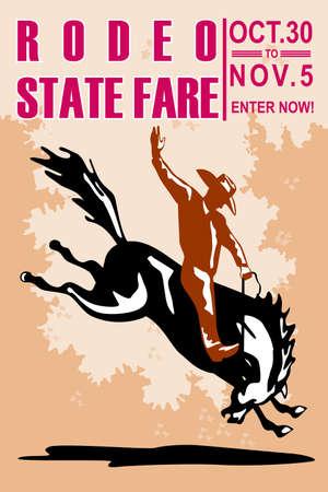 rodeo americano: Ilustraci�n de estilo retro de un cartel que muestra un Cowboy de rodeo estadounidense montando un salto de caballo bronco resistencia visto desde lado con la Feria del Estado de rodeo de palabras el 30 de octubre y el 5 de noviembre �nete ahora