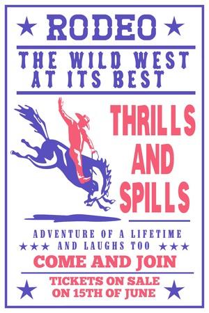 american rodeo: stile retr� illustrazione di un poster, mostrando un Cowboy Rodeo americano cavalcando un bucking bronco horse jumping visto dal lato con parole Annual Benefit Rodeo selvaggio west al suo meglio