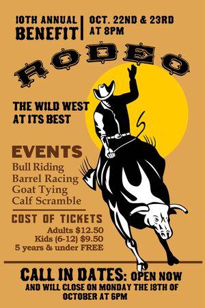 rodeo americano: Ilustraci�n de estilo retro de un cartel que muestra a un Cowboy de rodeo estadounidense montando un toro en la que se resisten saltando con el sol en el fondo y las palabras Anual de beneficios de rodeo  Foto de archivo