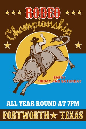 american poster: retro style illustration of a Poster showing an American  Rodeo Cowboy riding  a bull bucking jumping with sun in background and words  Rodeo championship all year round at Fort Worth, Texas USA Stock Photo