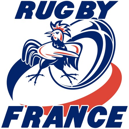 illustration of a rugby ball and french rooster cockerel with words rugby france illustration