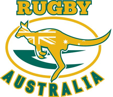 roo: illustration of a kangaroo or wallaby jumping side view with australian flag inside silhouette  and rugby ball in background with words rugby Australia