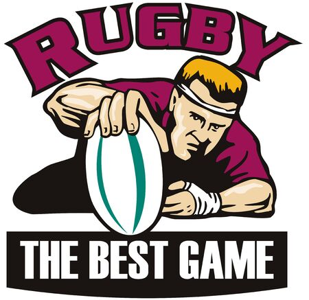 retro style illustration of a rugby player grounding the ball for a try viewed from the front with words rugby the best game illustration