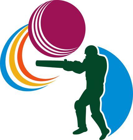 striking: illustration of a cricket sports player batsman silhouette batting striking ball isolated on white