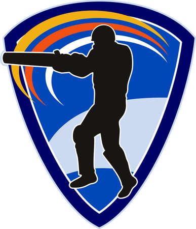 illustration of a cricket sports player batsman silhouette batting set inside shield Stock Illustration - 8192643
