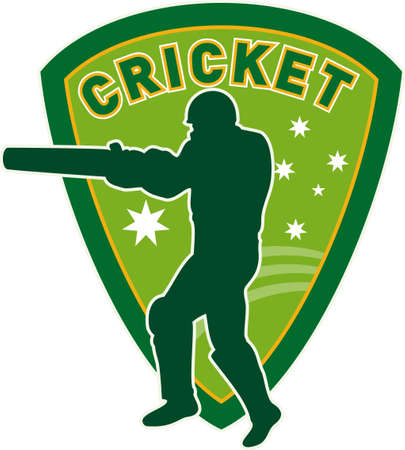 illustration of a cricket sports player batsman silhouette batting set inside shield with stars of australia flag and australian green and gold color Stock Illustration - 8192638