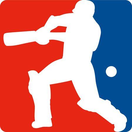 batting: illustration of a cricket sports player batsman silhouette batting set inside a red blue square format shape