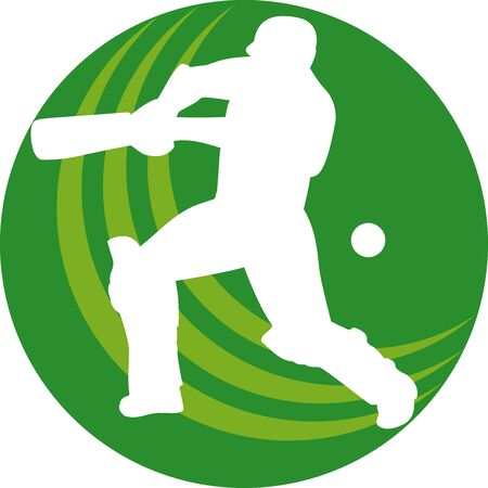 crickets: illustration of a cricket sports player batsman silhouette batting set inside a circle or bal shape