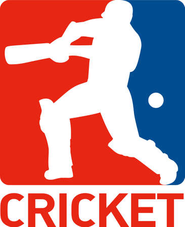batsman: illustration of a cricket sports player batsman silhouette batting set inside square with words cricket Stock Photo