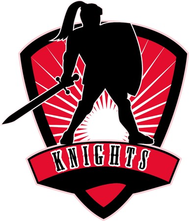 illustration of a Knight silhouette with sword and shield facing side with sunburst in background set inside shield with words Knights suitable as mascot for any sports or sporting club or organization illustration
