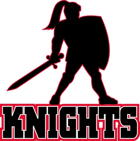 illustration of a Knight silhouette with sword and shield facing side in white background with words Knights suitable as mascot for any sports or sporting club or organization illustration