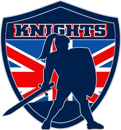 illustration of a Knight silhouette with sword and shield facing side with GB Great Britain British union jack flag in background words Knights suitable as mascot for any sports or sporting club or organization illustration