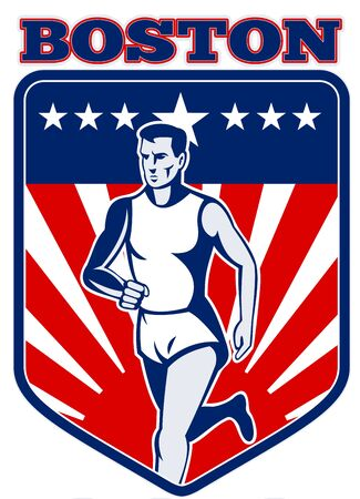 boston: illustration of a Marathon runner done in retro style with  stars sunburst and stripes in shield with words boston Stock Photo