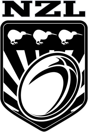 illustration of a rugby ball set inside shield with kiwi bird and words NZL new zealand  in all black and white illustration