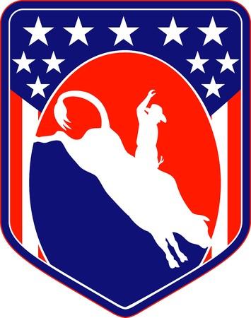 rodeo americano: Ilustraci�n de estilo retro de una silueta de un Cowboy de rodeo estadounidense montando un musical saltar visto desde el lado interior de escudo con estrellas y franjas de Toro