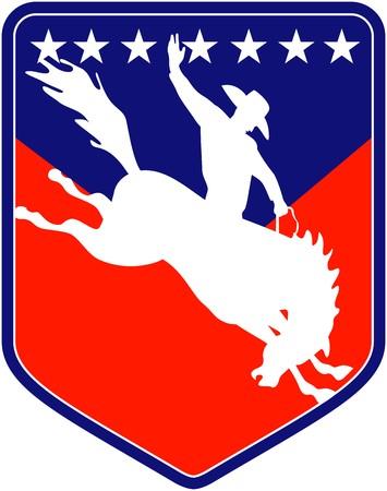 rodeo americano: Ilustraci�n de estilo retro de una silueta de un Cowboy de rodeo estadounidense montando un salto de caballo bronco resistencia visto desde lado dentro de escudo con estrellas  Foto de archivo