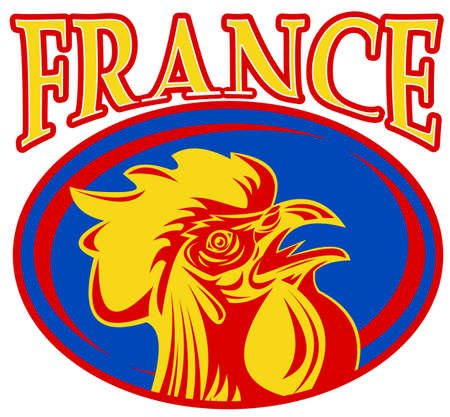illustration of a french sport sporting mascot rooster cockerel cock set inside rugby ball shape with words  france  illustration
