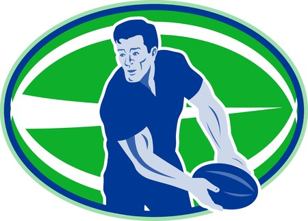 illustration of a rugby player passing ball viewed from front with ball in background  retro style illustration