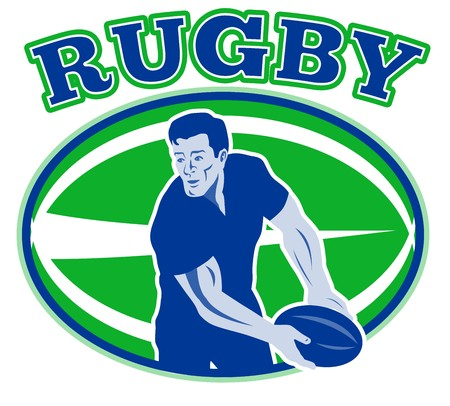 illustration of a rugby player passing ball viewed from front with ball in background and words rugby  illustration