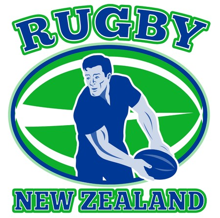 retro style illustration of a rugby player passing ball viewed from front with ball in background and words  rugby new zealand  illustration
