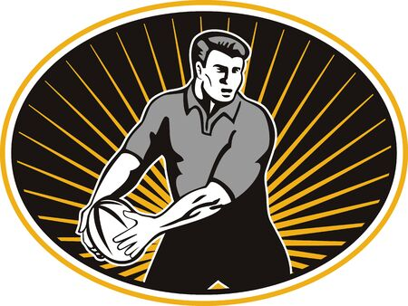 passing: retro style illustration of a rugby player passing ball viewed from front set inside ellipse Stock Photo