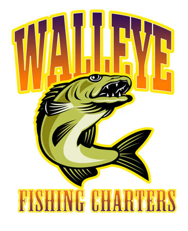 walleye: retro illustration of a walleye fish jumping with words  walleye fishing charters