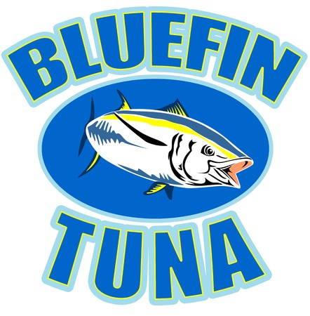 illustration of a bluefin tuna swimming with words bluefin tuna  illustration