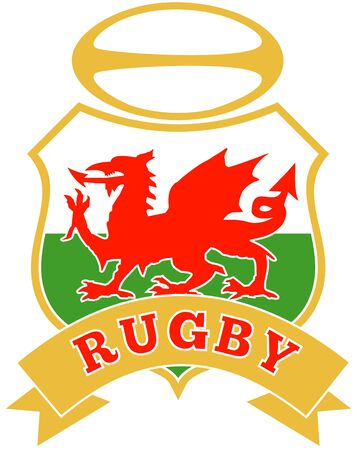 welsh flag: illustration of a red welsh wales dragon with rugby ball in shield on white background