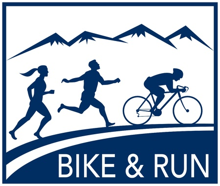 illustration of a silhouette of marathon runner and cyclist  race with mountains and words bike and run done in retro style Stock Illustration - 8268812