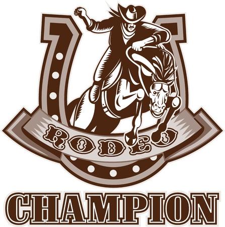 rodeo americano: Ilustraci�n de estilo retro de grabado de un Cowboy de rodeo estadounidense montar un caballo bronco resistencia saltando con herradura en segundo plano y despl�cese con las palabras rodeo