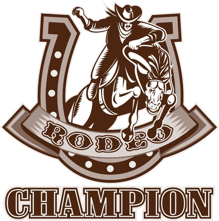 bucking horse: retro woodcut style illustration of an American  Rodeo Cowboy riding  a bucking bronco horse jumping with horseshoe in background and scroll with words rodeo