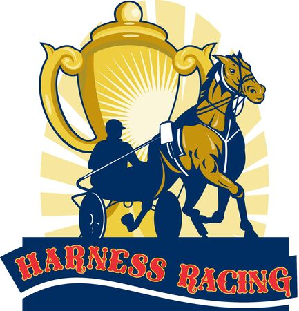 chariot: illustration on sulkies,Harness cart horse racing viewed from low angle with championship cup and sunburst in background retro style.