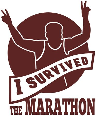 running race: illustration of a silhouette of Marathon runner flashing victory hand sign done in retro style with   sunburst set inside circle with words i survived the marathon