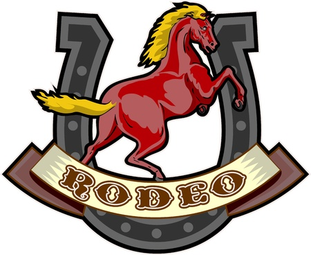 retro style illustration of a prancing horse with horseshoe in background and scroll in foreground with words