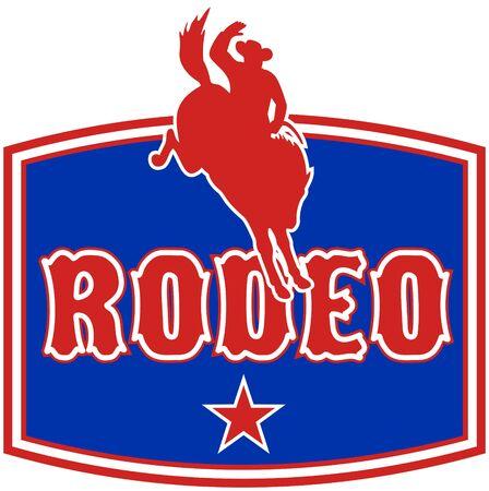 rodeo americano: Ilustraci�n de estilo retro de un Cowboy de rodeo estadounidense montando una resistencia bronco caballo saltando con estrella y en segundo plano con palabras rodeo