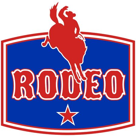 bucking bronco: retro style illustration of an American  Rodeo Cowboy riding  a bucking bronco horse jumping with star and  in background with words rodeo
