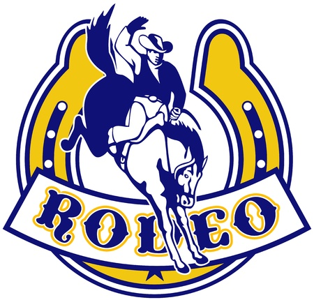 bucking horse: retro style illustration of a Rodeo Cowboy riding  a jumping bronco horse jumping with horseshoe in background and scroll in foreground